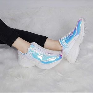 Lucky Step Holographic Iridescent Chunky Sneakers